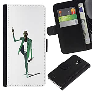 Paccase / Billetera de Cuero Caso del tirón Titular de la tarjeta Carcasa Funda para - Man Music Microphone Singer Art Drawing - Samsung Galaxy S4 Mini i9190 MINI VERSION!