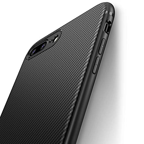 (iCOCEN iPhone 7 Plus Case iPhone 8 Plus Case [Carbon Fiber Texture Design] Durable Light Shockproof Cover Full Protective Slim Fit Shell Soft TPU Silicone Bumper Case for iPhone 7/8 Plus 2017 Black )
