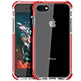 MATEPROX iPhone 8 case iPhone 7 Case Clear Shield Heavy Duty Anti-Yellow Anti-Scratch Shockproof Cover Compatible with iPhone 7/8 Red