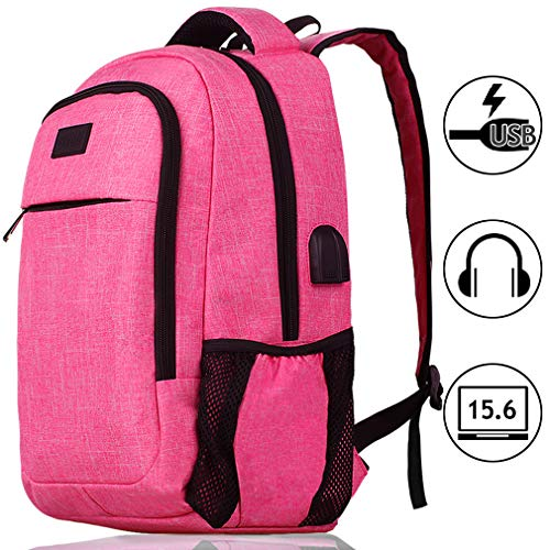 Laptop Backpack for Women Girls Business Waterproof Lightweight Slim Hiking Travel Backpack with USB Charging Port Work Fashion Tech Computer College School Bookbag Daypack Fit 15.6 Inch Laptop, Pink
