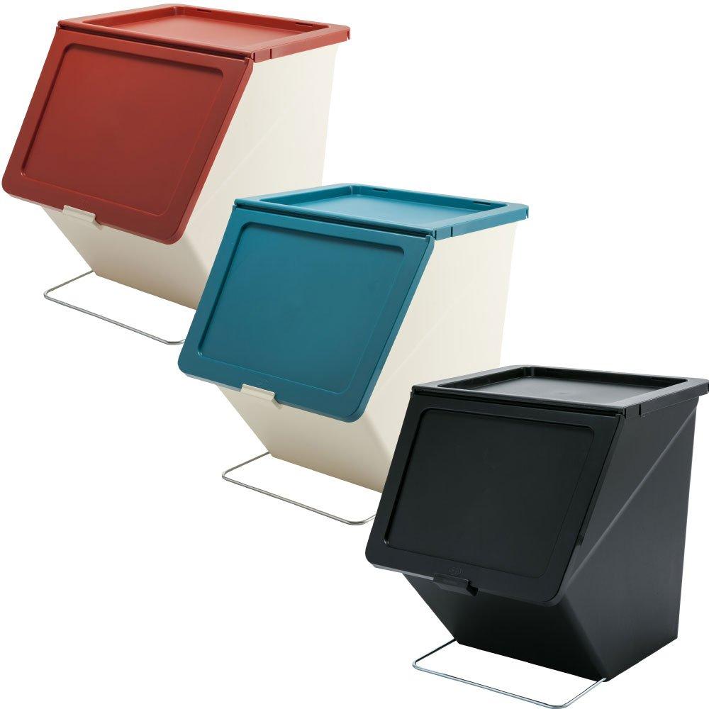 スタックストー ペリカン ガービー 38L 全6色の中から選べる3個セット ゴミ箱 ごみ箱 ダストボックス おしゃれ ふた付き stacksto pelican (レッド×ブルー×ブラック) B07595C923 レッド×ブルー×ブラック レッド×ブルー×ブラック
