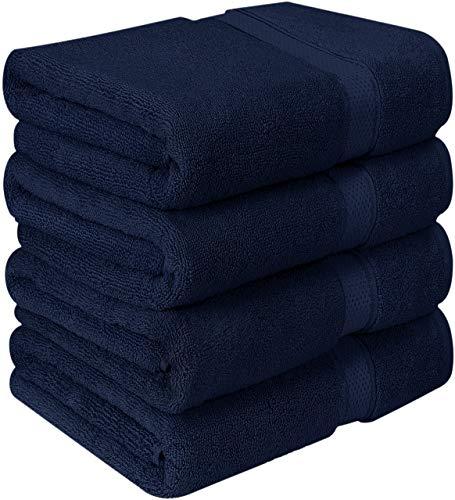 Utopia Towels Luxurious Bath Towels, 4 Pack, Navy