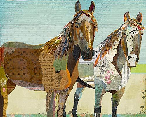 Two Horses - Farmhouse Style Collage Art Print - Western Artwork - Mixed Media Style 11X14