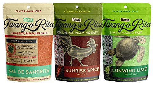 Twang-A-Rita The Original Flavored Cocktail Rimming Salt, Asst Sweet & Salty 3 Pack by Twang