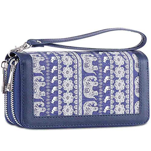 (Double Zipper Long Clutch Wallet Cellphone Wallet for Women with Hand Strap for Card, Cash, Coin, Bill )