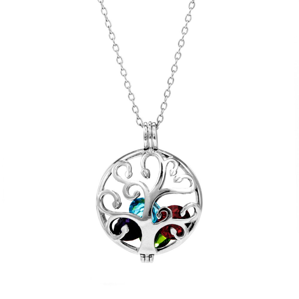 Sterling Silver Personalized 6mm Round Simulated Birthstone Family Tree Locket (16'' chain) - Mother's Day Gift