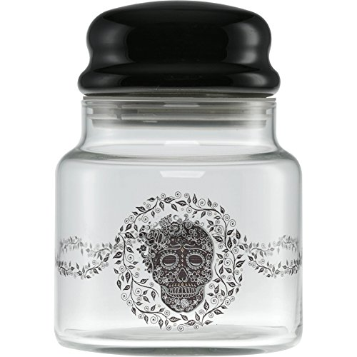 Officially Licensed Fiesta Skull and Vine 16-Ounce Glass Treat Jar With Gasket Sealed Dome Lid ()