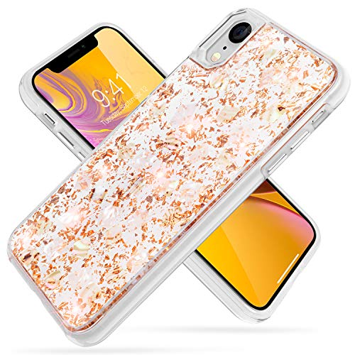iPhone Xr Case,SQMCase Glitter Bling Luxury [Gold Shell Foil Embedded] Hybrid Flexible TPU Bumper with Hard Plastic Back 2 in 1 Protective Shock-Absorbing Case for iPhone Xr-Shiny Gold