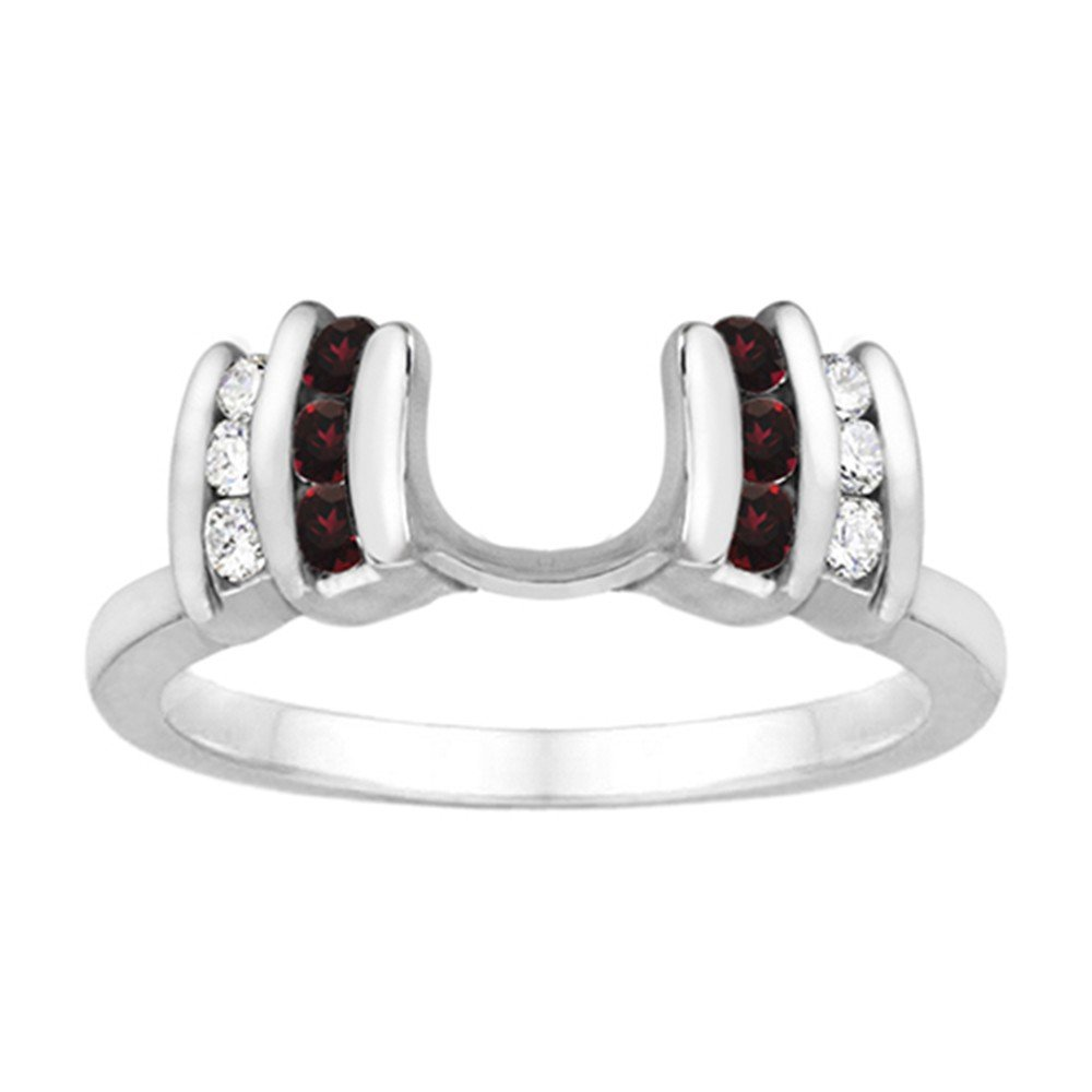 Diamond and Created Ruby Ring Wrap Enhancer set in Sterling Silver (0.34 ct. twt)