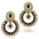 Dancing Girl Women's Faux Pearl With Stone Traditional Ethnic Indian Earring B332K Black