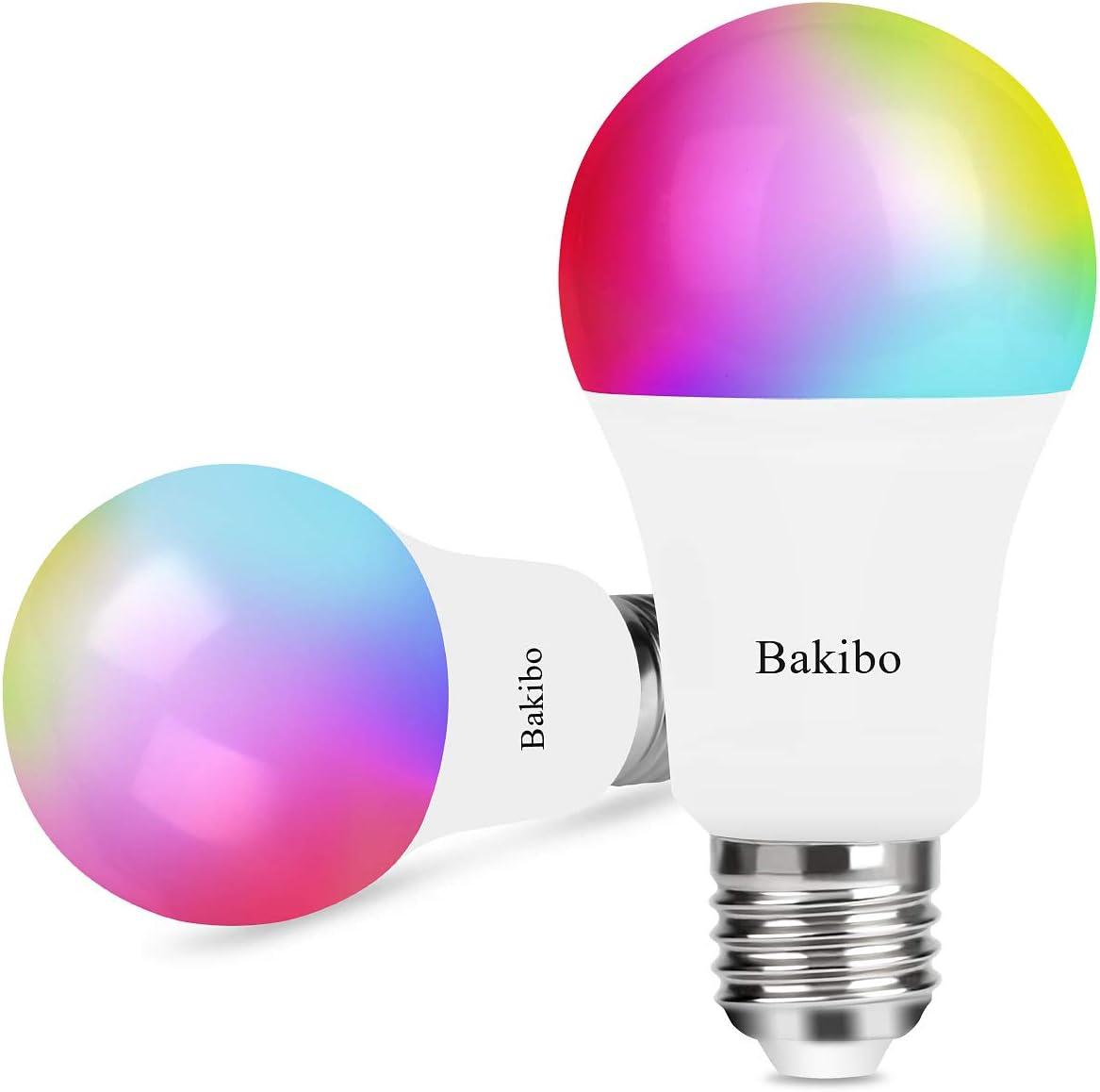 bakibo Ampoule Connectée LED WiFi Intelligente Dimmable 9W 1000Lm, E27 Smart Ampoule compatible avec Alexa, et Google Home, A19 90W Equivalente RGBCW couleur changement Lumière, 2 Pcs