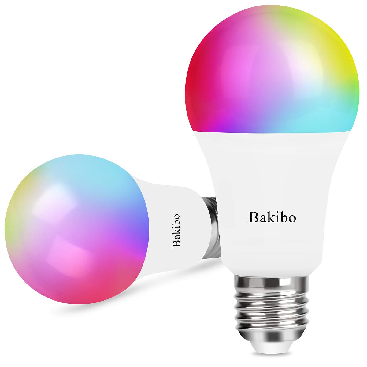 bakibo Lampadina Wifi Intelligente Led Smart Dimmerabile 9W 1000Lm, E27 Multicolore Lampadina Compatibile con Alexa, Google Home e IFTTT, A19 90W Equivalente RGB Colore Cambiante Lampadina, 2 Pcs