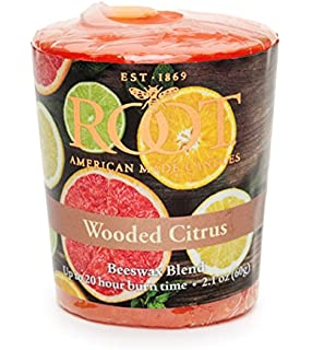 Root Legacy 20-Hour Beeswax Votive Candles, 18-Pack, Wooded Citrus 1