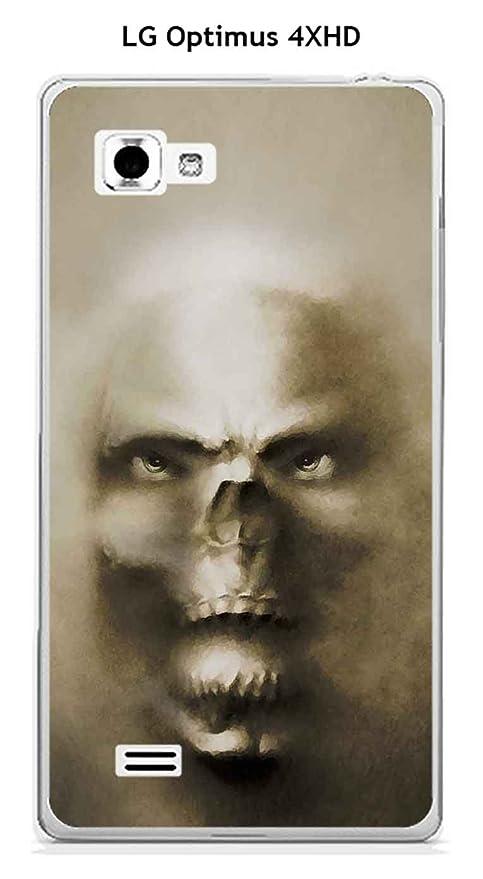 Onozo Cover Lg Optimus 4 X Hd Design Testa Di Morte Sfondo Grigio