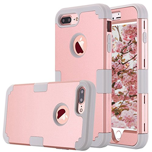 iPhone 7 Plus Case, AOKER Shockproof Hybrid Heavy Duty High Impact Hard Plastic+Soft Silicon Rubber Armor Defender Case Cover for Apple iPhone 7 Plus 5.5 Inch (2016) (Rose Gold+Grey)