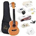 Enya OMS 02 Concert Ukulele Mahogany solid Top Bundle 23 Inch Ukelele with Online Lessons, Padded Gig Bag, Strings, Tuner, Strap, Capo, Picks, Polishing cloth