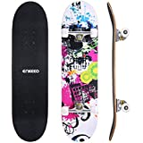 "ENKEEO 32"" Skateboard Complete 9 Ply Maple Wood Double Kick Concave Skateboards, ABEC-9 Tricks Stake Board for Beginners and Pro"