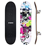 ENKEEO 32'' Skateboard Complete 9 Ply Maple Wood Double Kick Concave Skateboards, ABEC-9 Tricks Stake Board for Beginners and Pro