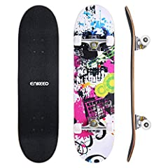 """Enkeeo Street Art Double Kick SkateboardThe Enkeeo complete skateboard measures 8"""" x 32"""". This is a common adult-sized width for pro skateboarders. With wider and stronger 9-ply maple wood deck, this model is perfect for pros who is better at..."""