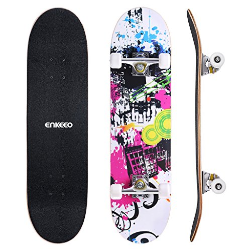 "ENKEEO Skateboards Complete 32"" 9 Ply Maple Wood Double Kick Concave Skateboards for Girls, ABEC-9 Tricks Stake Board for Beginners and Pro"