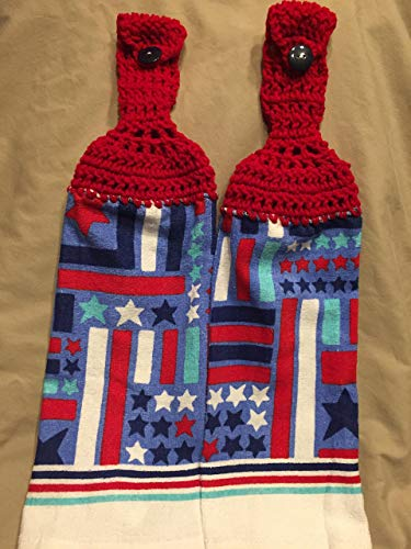 - Free shipping to USA included in price - 2 CROCHET KITCHEN hand TOWEL LIGHT/MEDIUM weight terry cloth - USA Americana 4th of July - Cherry Red acrylic yarn top - smoke free - pet free
