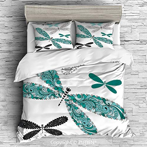 FULL Size Cute 3 Piece Duvet Cover Sets Bedding Set Collection [ Dragonfly,Ornamental Dragonfly Figures with Lace and Damask Effects Artsy Image Decorative,Teal Turquoise Black ] Comforter Cover Set f ()