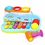 Huile Kids Musical Toy Xylophone Piano Pounding Bench with...