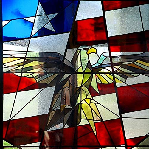 Home Comforts Canvas Print Stained Glass Bald Patriotic America Eagle Flag Vivid Imagery Stretched Canvas 32 x 24 (Stained Eagle Glass Bald)