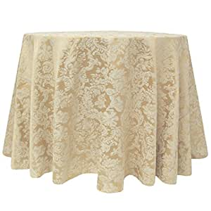 Ultimate Textile (5 Pack) Damask - Miranda Polycotton 120 Inch Round Tablecloth - for Home Dining, Weddings, Banquets, and Special Occasion use, Champagne