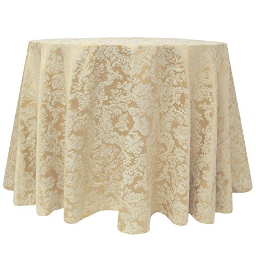 (Ultimate Textile -2 Pack- Damask Miranda 70 x 104-Inch Oval Tablecloth - Floral Leaf Two-Tone Jacquard Design, Champagne Ivory Cream)