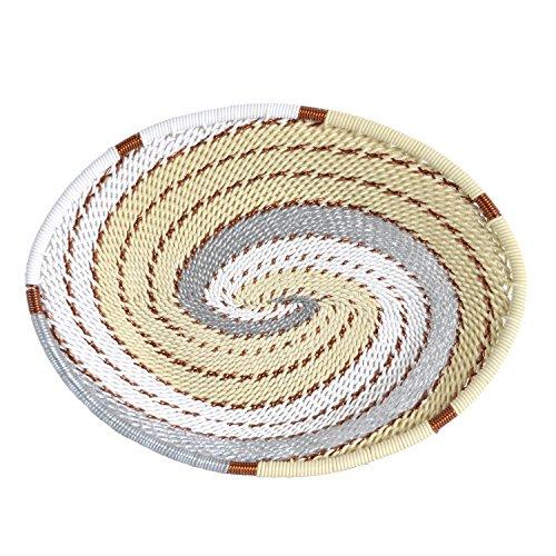 (Fair Trade Zulu Telephone Wire Small Oval Basket, Silver Sea)