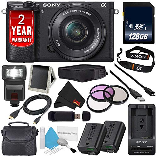 (Sony Alpha a6300 Mirrorless Digital Camera with 16-50mm Lens (International Model) + NP-FW50 Replacement Lithium Ion Battery + External Rapid Charger + 128GB Class 10 Memory Card Bundle)