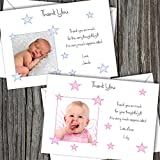 Personalised Baby Photo Thank You/Announcement/Christening Cards. Boy/Girl FREE DELIVERY (SBD 8) ( Pack of 10 )