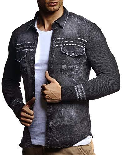 Leif Nelson Herren Strick-Jacke-Hemd Vintage Jeans-Hemd für Männer Slim-Fit Langarm Freizeit Jacke-Hemd Verwaschen Casual LN3555