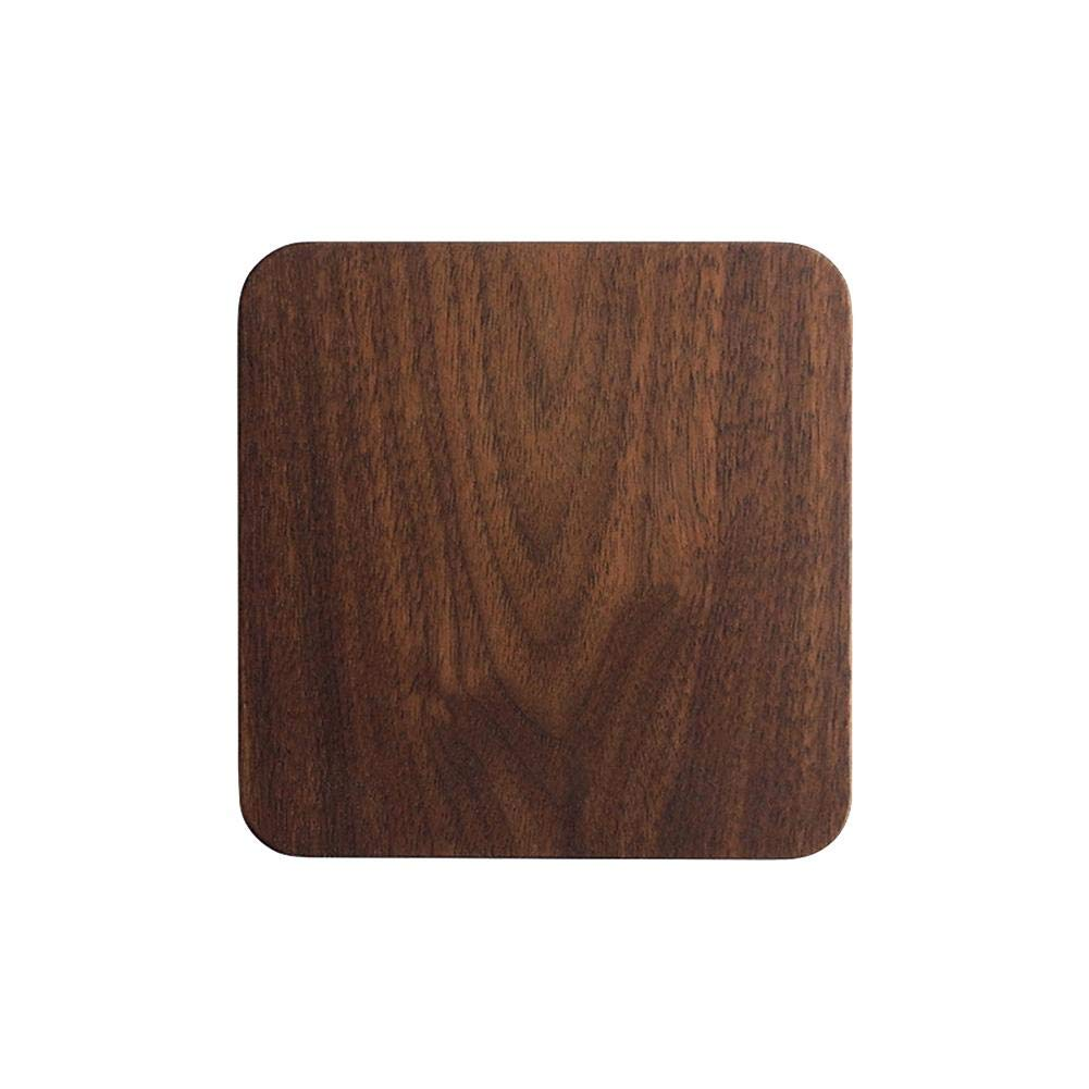 Shantan Heat Insulation Wooden Tea Coffee Cup 5pcs Coaster Ceremony Accessories Decor Walnut Square Thickening Placemat Coasters Holder Mat Pads for Drinks Beech Bowl Set Kitchen Pot Table Dish Trays by Shantan (Image #2)