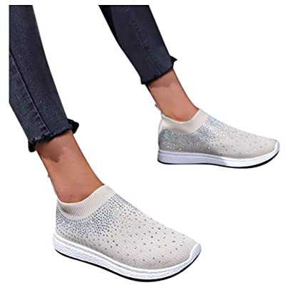 YiYLunneo Women Tennis Shoe Soft Sock Walking Shoe Ankle Flat Loafers Crystal Bling Sneakers Casual Shoes Single Shoes