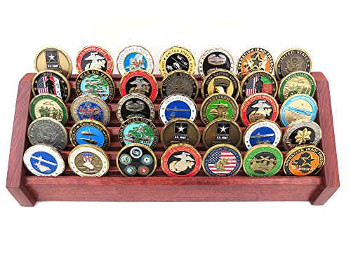 5 Tier Cherry - Military Challenge Coin Display Rack Stand Holder (5-Tier Cherry)
