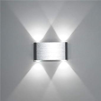 SISVIV Apliques de Pared 4W Lámpara Pasillo, Escalera, Potente Luz, Blanco Frío: Amazon.es: Iluminación