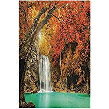 Polyester Garden Flag Outdoor Flag House Flag Banner,Farm House Decor,Majestic Waterfall Cascade in Forest Flows down Crystal Pure Habitat View,Orange Blue,for Wedding Anniversary Home Outdoor Garden