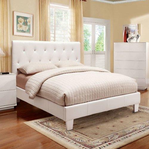 Mantua Modern White Eastern King Size Leatherette Bed