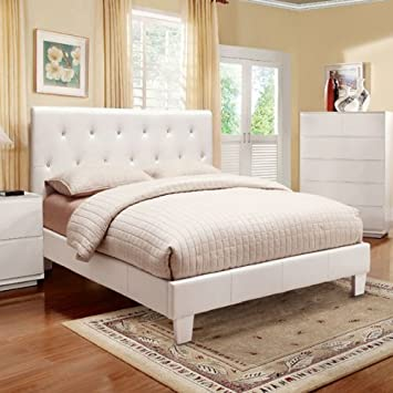 mantua modern style white finish queen size leatherette bed frame set - White Queen Bed Frame