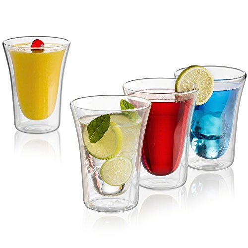 Double Wall Cocktail (Double Wall Coffee Glass Set - Cocktail Beer Drinkware Set of 4, 10 - Ounces)