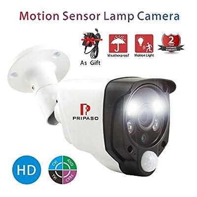 Home Security Wired Camera 2.0MP 1080P HD TVI/CVI/AHD CCTV Outdoor Motion Sensor Camera with Pripaso Smart Alarm Camera Heat Based Motion Detect CCTV 100ft Night Vision Alarm Light Camera