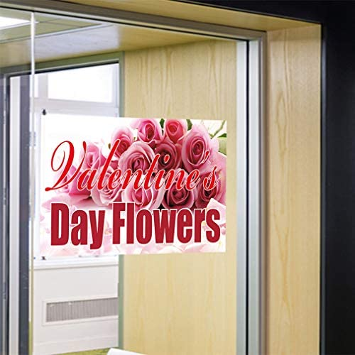 Decal Sticker Multiple Sizes Valentines Day Flowers Business Retail Valentines Day Flowers Outdoor Store Sign Pink 66inx44in Set of 2