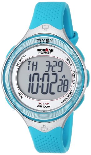 Timex Women's T5K602 Ironman Classic 30 Mid-Size Blue/Silver-Tone Resin Strap Watch