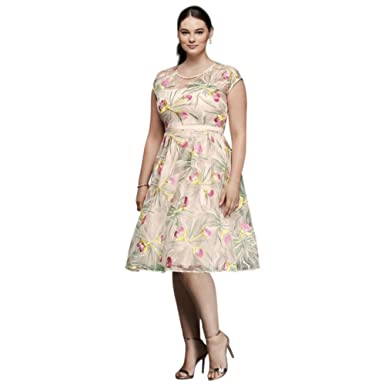 David s Bridal Embroidered Organza Fit and Flare Plus Size Dress