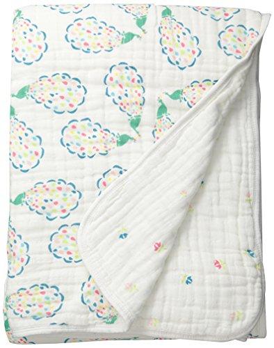 Bebe au Lait Premium Muslin Snuggle Blanket, Peacock and Pansies