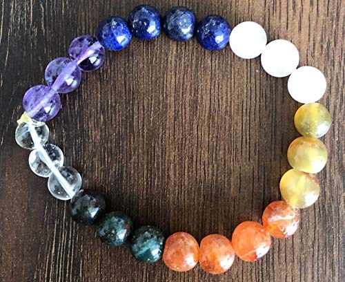 CRYSTALMIRACLE Amethyst Quartz Bloodstone Lapis Yellow Aventurine Carnelian Beaded Bracelet Crystal Healing Fashion Jewelry Gift Energy Gemstone Health Prosperity Accessory Wellness Power