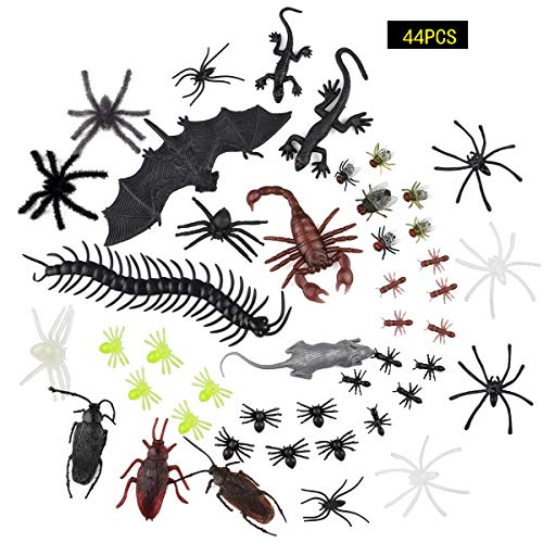 - 44 Pieces Plastic Realistic Bugs - Bug Toys Insects with Fake Spiders, Gecko, Flies And Bat And Other Plastic Fake Animals For Halloween Party Favors Decorations Camera Props