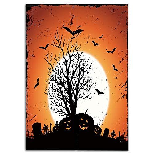 Door Curtain(Two Panels) Multi Style,Vintage Halloween,Grunge Halloween Image with Eerie Atmosphere Graveyard Bats Pumpkins,Orange Black,Drawings Printing Design,W37.4 xH59.1